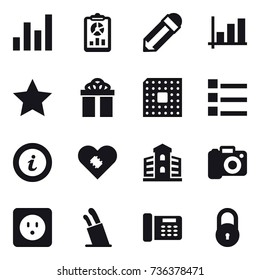 16 vector icon set : graph, report, pencil, star, gift, cpu, list, info, building, camera, power socket, stands for knives