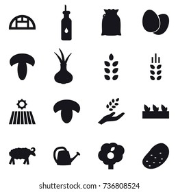 16 vector icon set : greenhouse, spikelets, field, mushroom, harvest, seedling, sheep, watering can, garden, potato