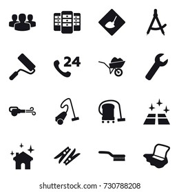 16 vector icon set : group, server, under construction, draw compass, repair, wheelbarrow, wrench, blower, vacuum cleaner, clean floor, house cleaning, clothespin, brush, floor washing