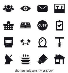 16 vector icon set : group, eye, mail, tools, university, atm, palm hammock, mirror, corkscrew, satellite antenna, plate washing, house
