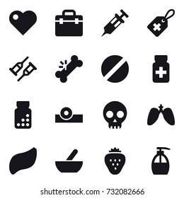 16 vector icon set : heart, mortar, strawberry, liquid soap