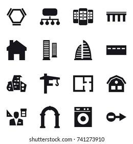 16 vector icon set : hex molecule, structure, server, bridge, home, skyscrapers, skyscraper, bunker, modern architecture, tower crane, plan, house, architector, arch, washing machine