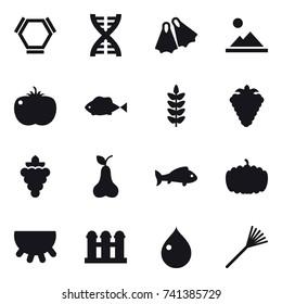 16 vector icon set : hex molecule, dna, flippers, landscape, berry, grape, pear, fish, pumpkin, udder, grain elevator, drop, rake