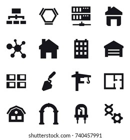 16 vector icon set : hierarchy, hex molecule, server, home, building, garage, panel house, construction, tower crane, plan, house, arch