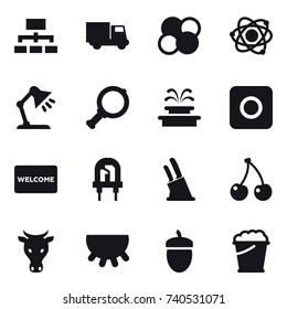 16 vector icon set : hierarchy, truck, atom core, atom, table lamp, magnifier, fountain, ring button, welcome mat, knife holder, cherry, cow, udder, acorn, foam bucket