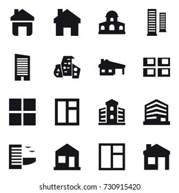 16 vector icon set : home, mansion, skyscrapers, skyscraper, modern architecture, house with garage, panel house, window, building, hotel, house