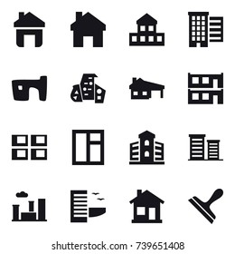 16 vector icon set : home, cottage, houses, slum, modern architecture, house with garage, modular house, panel house, window, building, district, city, hotel, scraper