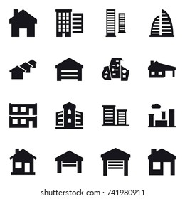 16 vector icon set : home, houses, skyscrapers, skyscraper, garage, modern architecture, house with garage, modular house, building, district, city, house