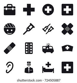 16 vector icon set : hospital, first aid