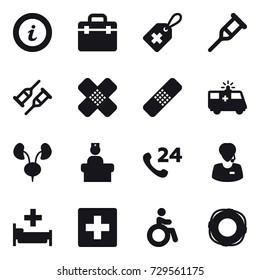 16 vector icon set : info, hospital, first aid, invalid, lifebuoy