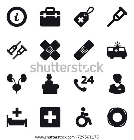 16 Vector Icon Set Info Hospital First Aid Invalid Lifebuoy