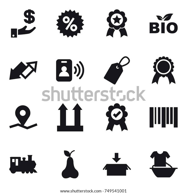 16 vector icon set : investment, percent, medal, bio, up down arrow, pass card, label, train, pear, package, handle washing
