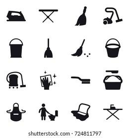 16 vector icon set : iron, iron board, broom, vacuum cleaner, bucket, wiping, brush, washing powder, apron, toilet cleaning, floor washing