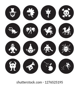 16 vector icon set : Leprechaun, Fairy tale, Fanfare, Faun, female Medusa, Fairy, Hydra, Golem, Gryphon isolated on black background