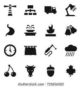 16 vector icon set : lighthouse, hierarchy, truck, table lamp, fountain, flippers, watch, curtain, rain cloud, cherry, cow, acorn, maple leaf