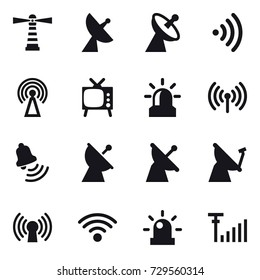 16 vector icon set : lighthouse, satellite antenna, wireless, antenna, tv, alarm, bell