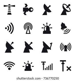 16 vector icon set : lighthouse, satellite, satellite antenna, wireless, antenna, alarm, bell