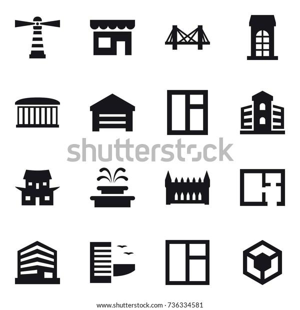 16 Vector Icon Set Lighthouse Shop Stock Vector (Royalty Free) 736334581