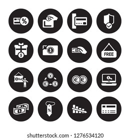 16 vector icon set : Loyalty card, Decrease, Discount, Dollar bill, Ecommerce, Cit Giftbox, Financial presentation, Get money isolated on black background