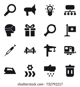 16 vector icon set : magnifier, loudspeaker, bulb, structure, virtual mask, gift, bridge, tower crane, trailer, iron, sow, trash bin