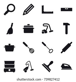 16 vector icon set : magnifier, pencil, ruler, level, broom, pan, vacuum cleaner, whisk, rolling pin, scraper, iron