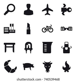 16 vector icon set : magnifier, man, plane, satellite, store, lipstick, bike, school, stool, measuring cup, apron, pig, cow, fire