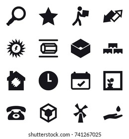 16 vector icon set : magnifier, star, courier, up down arrow, sun power, nanotube, box, block wall, smart house, flower in window, phone, windmill, hand and drop