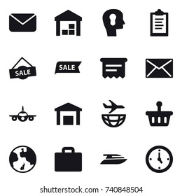 16 vector icon set : mail, warehouse, bulb head, clipboard, sale, atm receipt, earth, suitcase icon, yacht, watch