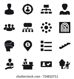 16 vector icon set : man, target audience, hierarchy, woman, group, structure, round around, fingerprint, virtual mask, dollar pin, list, stairs, check in, garden cleaning