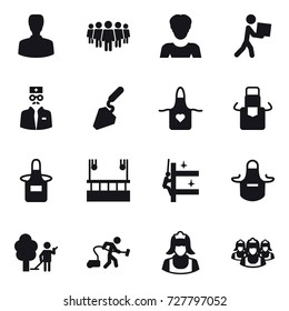 16 vector icon set : man, team, woman, courier, construction, apron, skyscapers cleaning, skyscrapers cleaning, garden cleaning, vacuum cleaner, cleaner, outsource