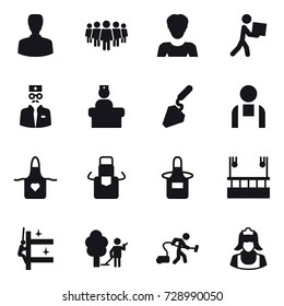 16 vector icon set : man, team, woman, courier, construction, apron, skyscapers cleaning, skyscrapers cleaning, garden cleaning, vacuum cleaner, cleaner