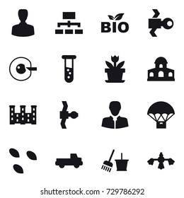 16 vector icon set : man, hierarchy, bio, satellite, cell corection, vial, flower, mansion, palace, seeds, pickup, bucket and broom, hard reach place cleaning