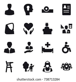 16 vector icon set : man, bulb head, architector, hospital, invalid, Chair for babies, garden cleaning, cleaner, outsource
