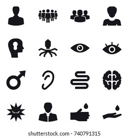16 vector icon set : man, team, group, woman, bulb head, virus, hand drop, hand and drop