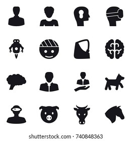 16 vector icon set : man, woman, bulb head, virtual mask, jet robot, dog, pig, cow, horse