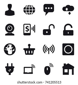 16 vector icon set : man, globe, message, cloude service, web cam, mobile pay, unlock, wireless, ring button, house