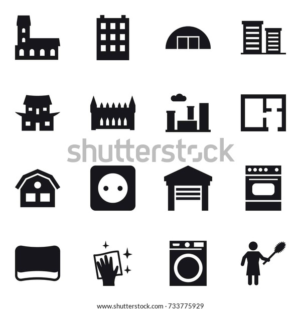 16 Vector Icon Set Mansion Building Stock Vector (Royalty Free
