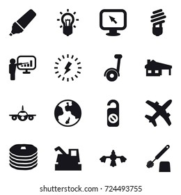 16 vector icon set : marker, bulb, monitor arrow, presentation, lightning, segway, house with garage, earth, do not distrub, harvester, hard reach place cleaning, toilet brush