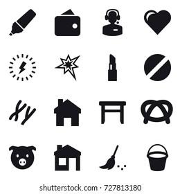 16 vector icon set : marker, wallet, call center, heart, lightning, bang, lipstick, home, stool, pig, house, broom, bucket