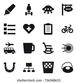 16 vector icon set : marker, hoverboard, ufo, shop signboard, list, bike, transfer, cup, rocking chair, horseshoe, hierarchy, trash bin, soap