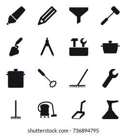 16 vector icon set : marker, pencil, funnel, construction, drawing compass, repair tools, pan, whisk, rake, wrench, vacuum cleaner, scoop, plunger