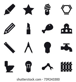 16 vector icon set : marker, star, bulb, hex molecule, pencil, lipstick, chicken leg, mansion, ruler, drawing compass, water tap, toilet, fence