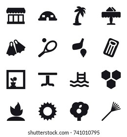 16 vector icon set : market, dome house, palm, restaurant, flippers, tennis, golf, inflatable mattress, flower in window, table, pool, honeycombs, sprouting, sun, garden, rake