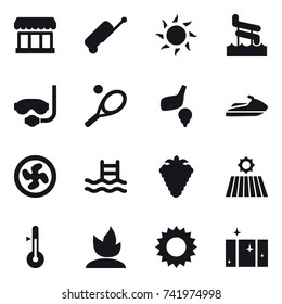 16 vector icon set : market, suitcase, sun, aquapark, diving mask, tennis, golf, jet ski, cooler fan, pool, berry, field, thermometer, sprouting, clean  window
