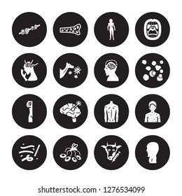 16 vector icon set : Metastatic cancer, Loiasis, Lung Lupus, Lupus erythematosus, Listeriosis, Mattticular syndrome, Lymphoma, Malaria isolated on black background