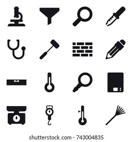 16 vector icon set : microscope, funnel, brick wall, pencil, level, thermometer, kitchen scales, handle scales, rake