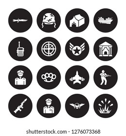 16 vector icon set : Military Knife, fighter plane, General, Grenade Launcher, Infantry, Explosion, Militar Radio, lieutenant, In isolated on black background
