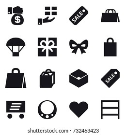 16 vector icon set : money gift, gift, sale, shopping bag, parachute, bow, box, sale label, delivery, necklace, rack