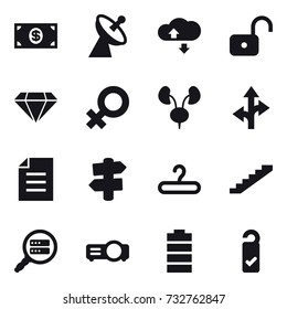 16 vector icon set : money, satellite antenna, cloude service, unlock, diamond, signpost, hanger, stairs, please clean