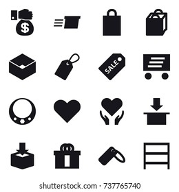 16 vector icon set : money gift, delivery, shopping bag, box, label, sale label, necklace, rack